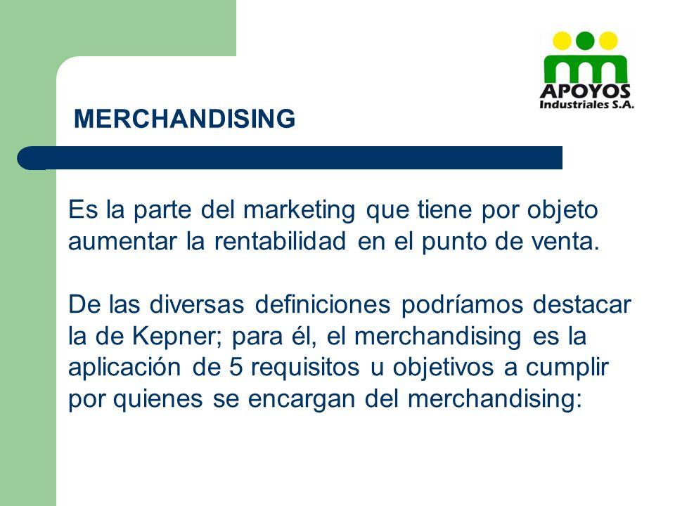 Es la parte del marketing que tiene por objeto aumentar la rentabilidad en el punto de venta. De las diversas definiciones podríamos destacar la de Ke