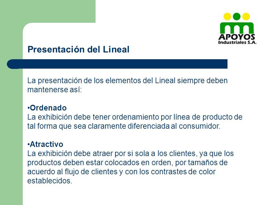 La presentación de los elementos del Lineal siempre deben mantenerse así: Ordenado La exhibición debe tener ordenamiento por línea de producto de tal