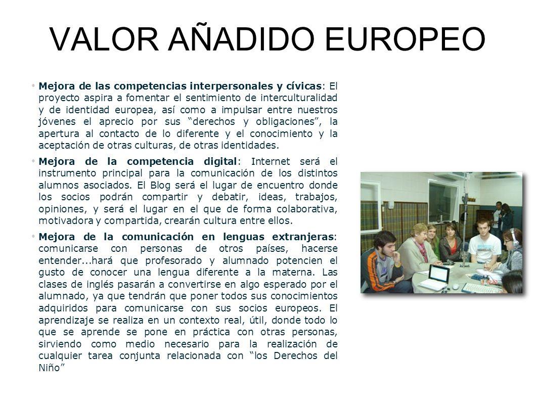 VALOR AÑADIDO EUROPEO Mejora de las competencias interpersonales y cívicas: El proyecto aspira a fomentar el sentimiento de interculturalidad y de ide
