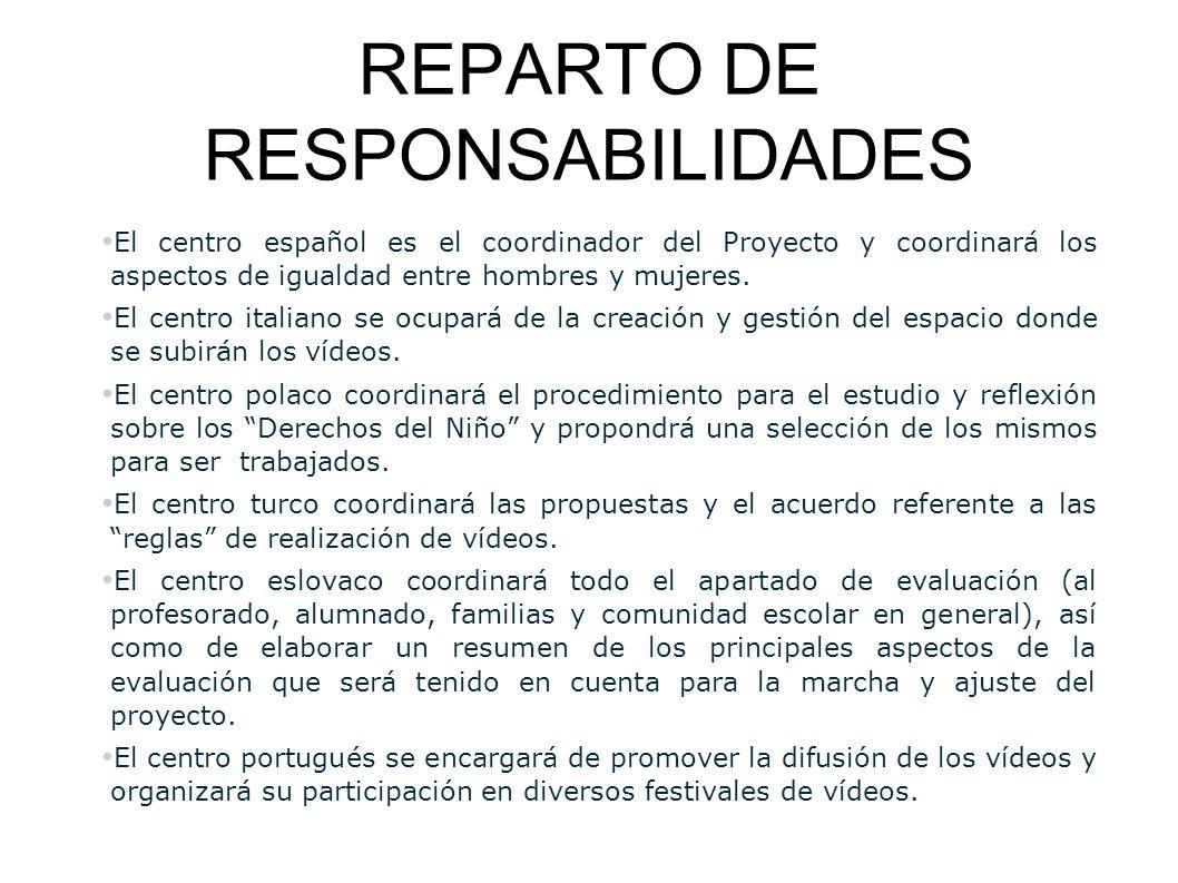REPARTO DE RESPONSABILIDADES El centro español es el coordinador del Proyecto y coordinará los aspectos de igualdad entre hombres y mujeres. El centro