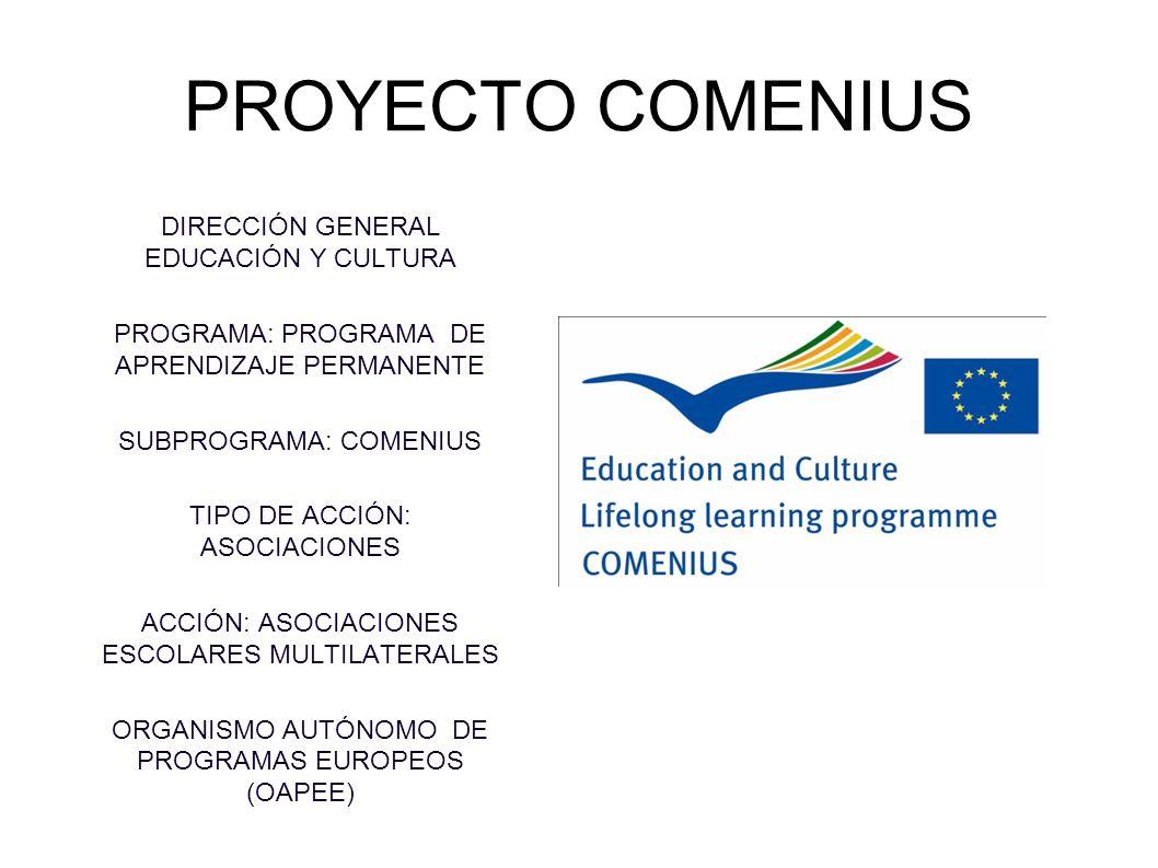PROYECTO COMENIUS DIRECCIÓN GENERAL EDUCACIÓN Y CULTURA PROGRAMA: PROGRAMA DE APRENDIZAJE PERMANENTE SUBPROGRAMA: COMENIUS TIPO DE ACCIÓN: ASOCIACIONE