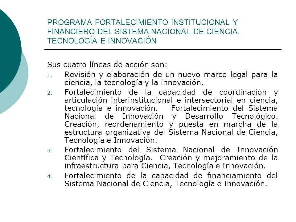 PROGRAMA FORTALECIMIENTO INSTITUCIONAL Y FINANCIERO DEL SISTEMA NACIONAL DE CIENCIA, TECNOLOGÍA E INNOVACIÓN Sus cuatro líneas de acción son: 1. Revis