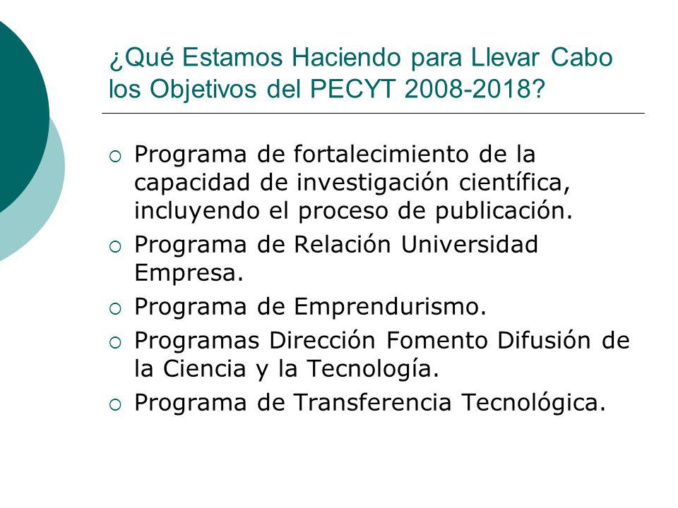 ¿Qué Estamos Haciendo para Llevar Cabo los Objetivos del PECYT 2008-2018? Programa de fortalecimiento de la capacidad de investigación científica, inc
