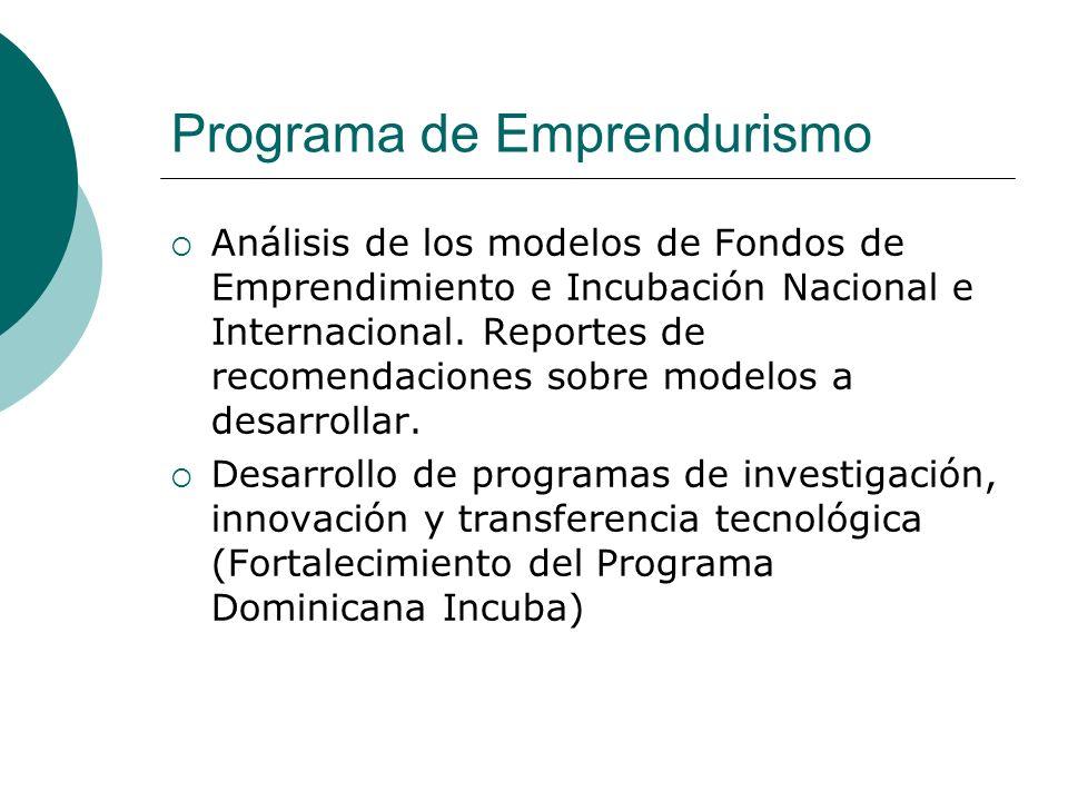 Programa de Emprendurismo Análisis de los modelos de Fondos de Emprendimiento e Incubación Nacional e Internacional. Reportes de recomendaciones sobre