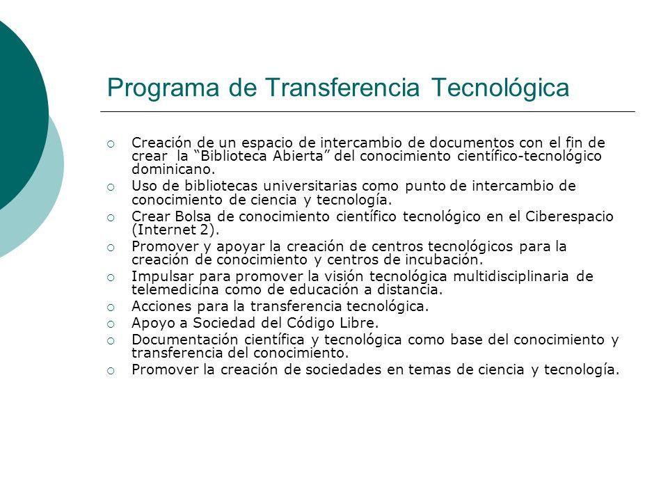 Programa de Transferencia Tecnológica Creación de un espacio de intercambio de documentos con el fin de crear la Biblioteca Abierta del conocimiento c