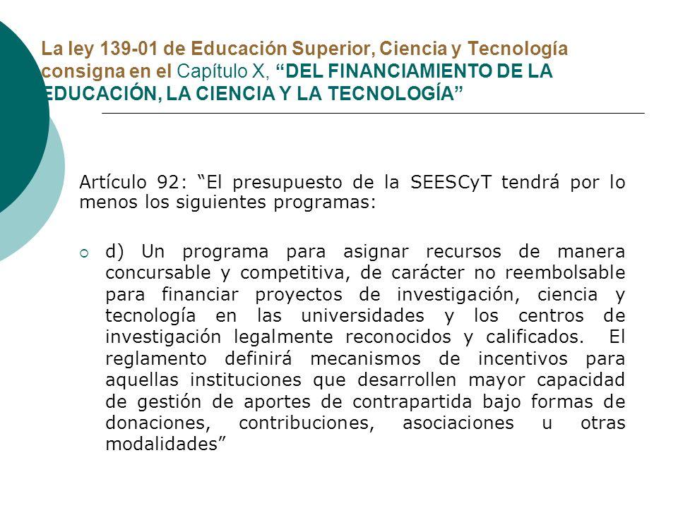 La ley 139-01 de Educación Superior, Ciencia y Tecnología consigna en el Capítulo X, DEL FINANCIAMIENTO DE LA EDUCACIÓN, LA CIENCIA Y LA TECNOLOGÍA Ar