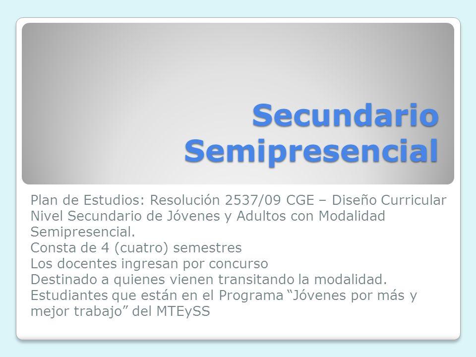 Secundario Semipresencial Plan de Estudios: Resolución 2537/09 CGE – Diseño Curricular Nivel Secundario de Jóvenes y Adultos con Modalidad Semipresencial.