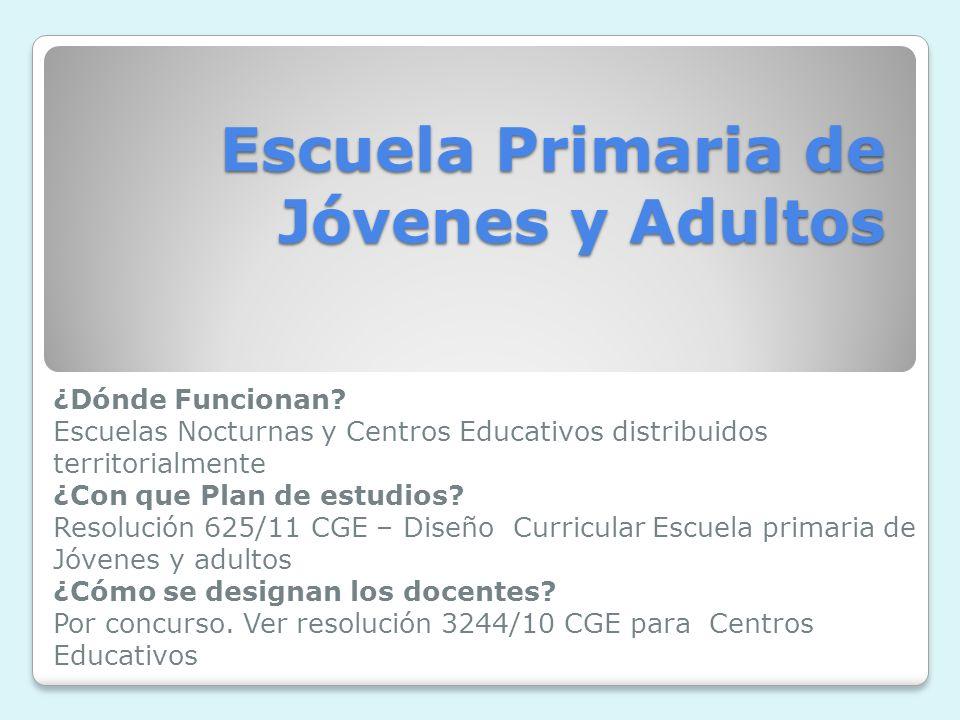 Escuela Primaria de Jóvenes y Adultos ¿Dónde Funcionan.