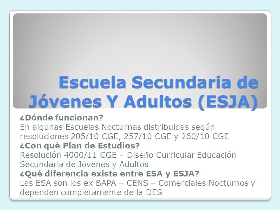 Escuela Secundaria de Jóvenes Y Adultos (ESJA) ¿Dónde funcionan.