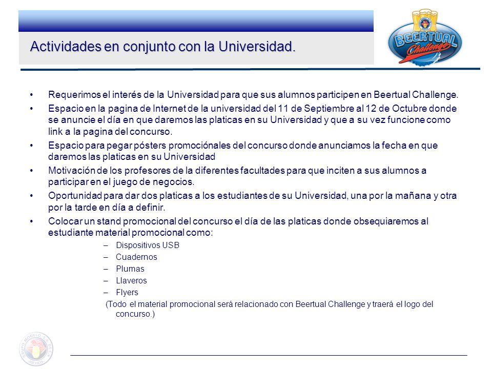 Requerimos el interés de la Universidad para que sus alumnos participen en Beertual Challenge. Espacio en la pagina de Internet de la universidad del