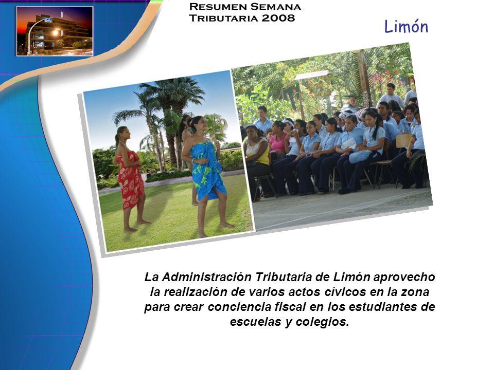 Limón La Administración Tributaria de Limón aprovecho la realización de varios actos cívicos en la zona para crear conciencia fiscal en los estudiante