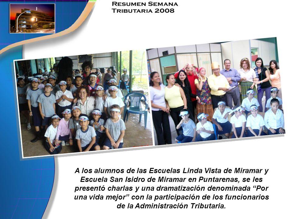 A los alumnos de las Escuelas Linda Vista de Miramar y Escuela San Isidro de Miramar en Puntarenas, se les presentó charlas y una dramatización denomi