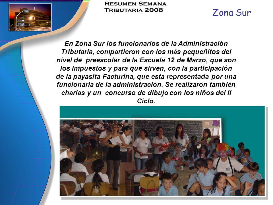 Zona Sur En Zona Sur los funcionarios de la Administración Tributaria, compartieron con los más pequeñitos del nivel de preescolar de la Escuela 12 de