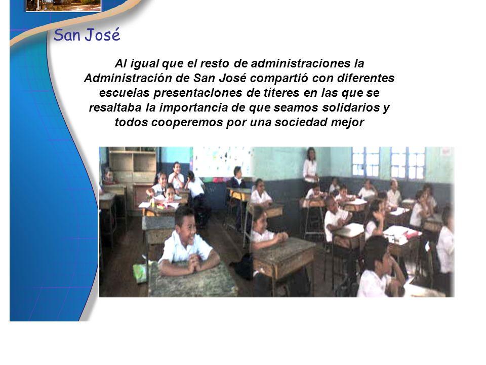 Al igual que el resto de administraciones la Administración de San José compartió con diferentes escuelas presentaciones de títeres en las que se resa