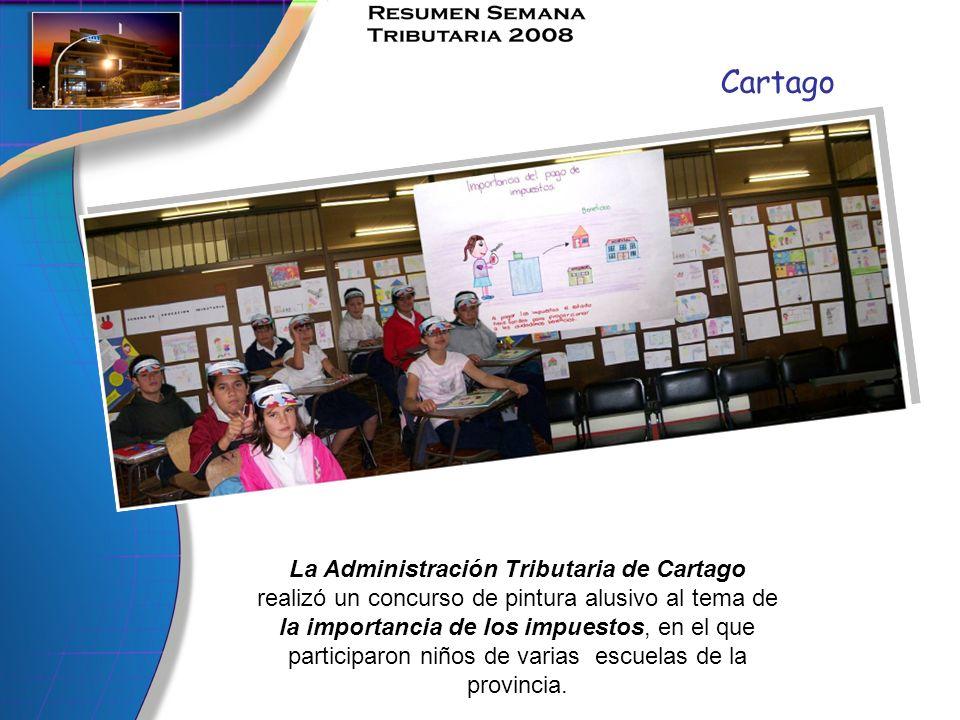 Cartago La Administración Tributaria de Cartago realizó un concurso de pintura alusivo al tema de la importancia de los impuestos, en el que participa