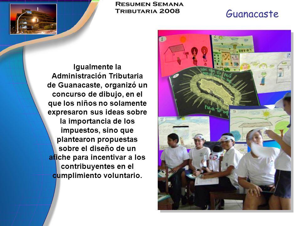 Guanacaste Igualmente la Administración Tributaria de Guanacaste, organizó un concurso de dibujo, en el que los niños no solamente expresaron sus idea