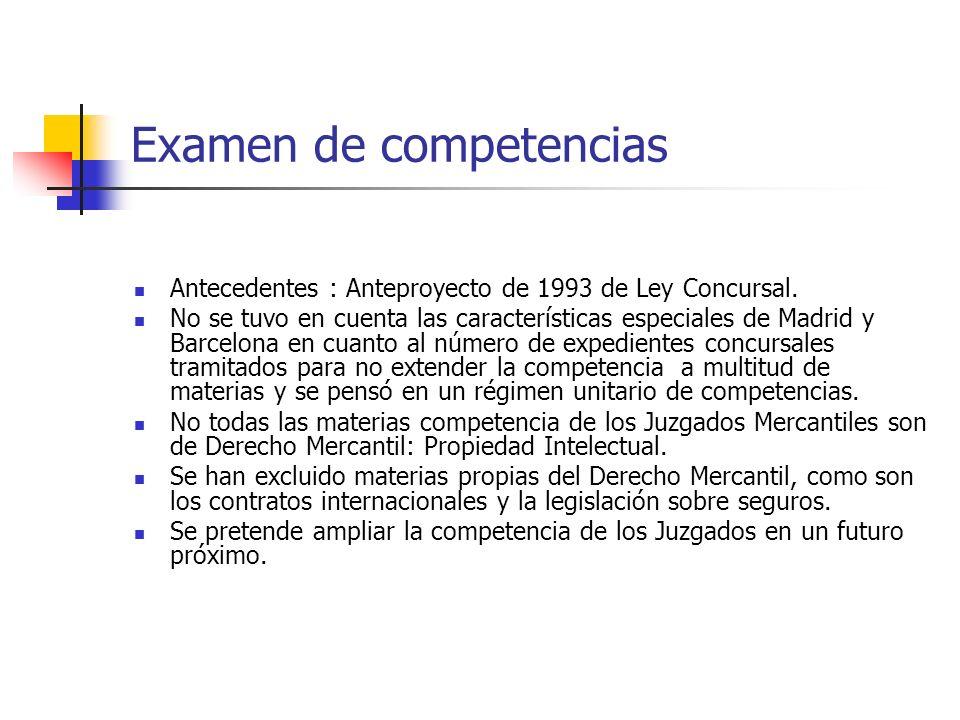 Examen de competencias Antecedentes : Anteproyecto de 1993 de Ley Concursal. No se tuvo en cuenta las características especiales de Madrid y Barcelona