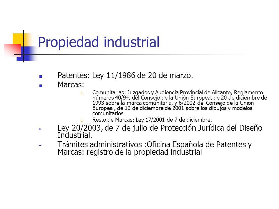 Propiedad industrial Patentes: Ley 11/1986 de 20 de marzo. Marcas: 1. Comunitarias: Juzgados y Audiencia Provincial de Alicante, Reglamento números 40