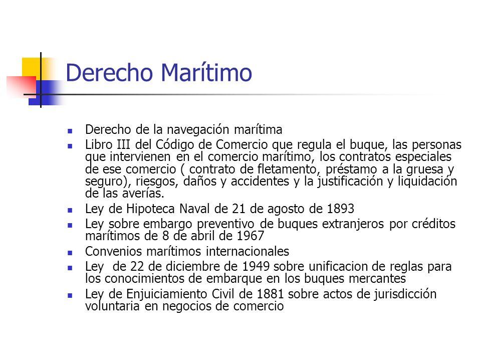 Derecho Marítimo Derecho de la navegación marítima Libro III del Código de Comercio que regula el buque, las personas que intervienen en el comercio m