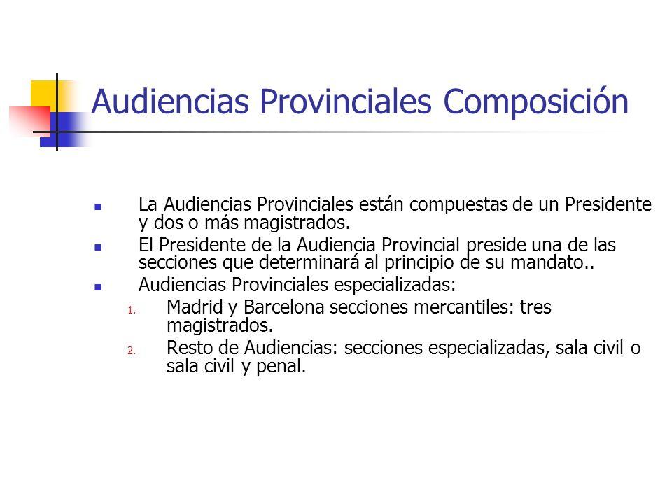 Audiencias Provinciales Composición La Audiencias Provinciales están compuestas de un Presidente y dos o más magistrados. El Presidente de la Audienci