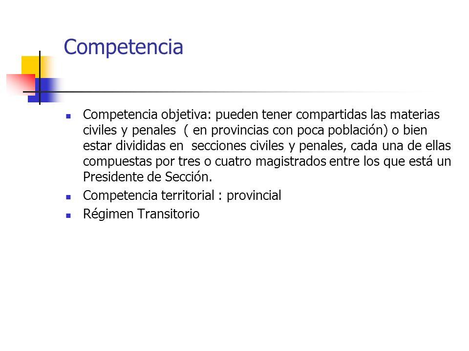 Competencia Competencia objetiva: pueden tener compartidas las materias civiles y penales ( en provincias con poca población) o bien estar divididas e