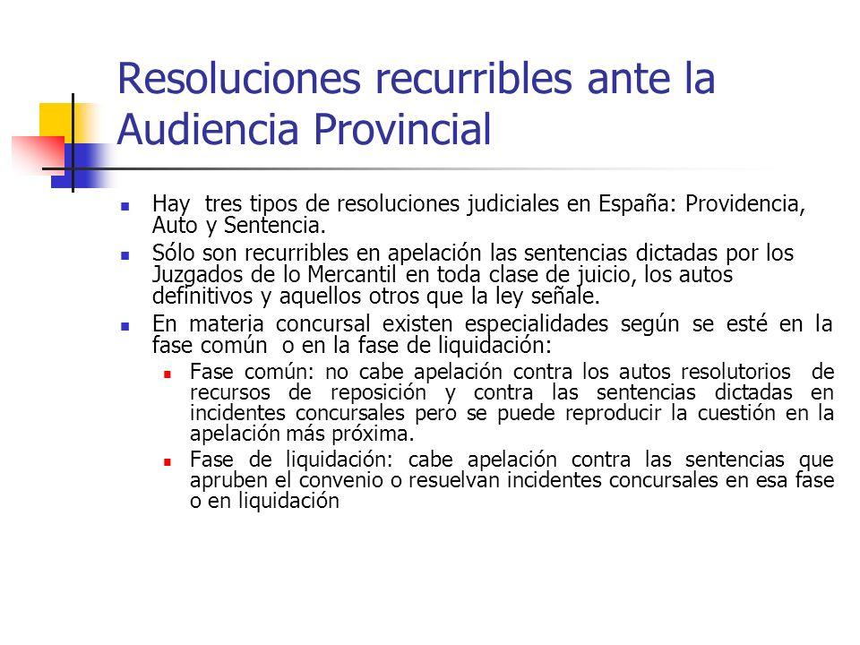 Resoluciones recurribles ante la Audiencia Provincial Hay tres tipos de resoluciones judiciales en España: Providencia, Auto y Sentencia. Sólo son rec