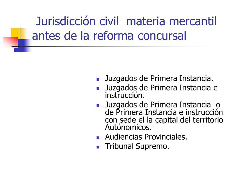 Jurisdicción civil materia mercantil antes de la reforma concursal Juzgados de Primera Instancia. Juzgados de Primera Instancia e instrucción. Juzgado