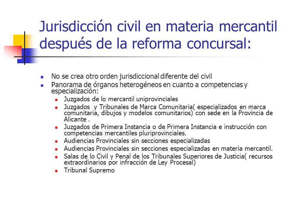 Jurisdicción civil en materia mercantil después de la reforma concursal: No se crea otro orden jurisdiccional diferente del civil Panorama de órganos