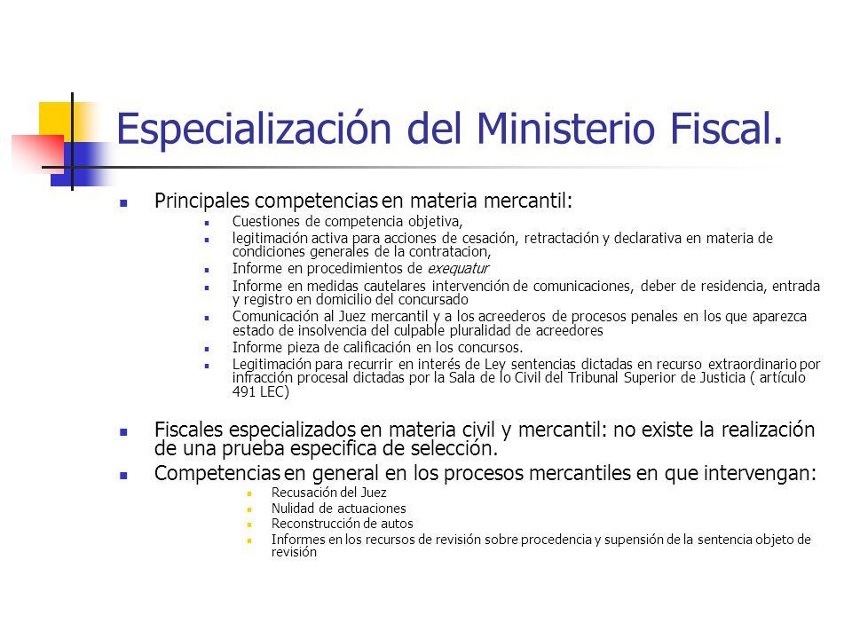 Especialización del Ministerio Fiscal. Principales competencias en materia mercantil: Cuestiones de competencia objetiva, legitimación activa para acc