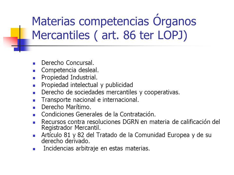 Materias competencias Órganos Mercantiles ( art. 86 ter LOPJ) Derecho Concursal. Competencia desleal. Propiedad Industrial. Propiedad intelectual y pu