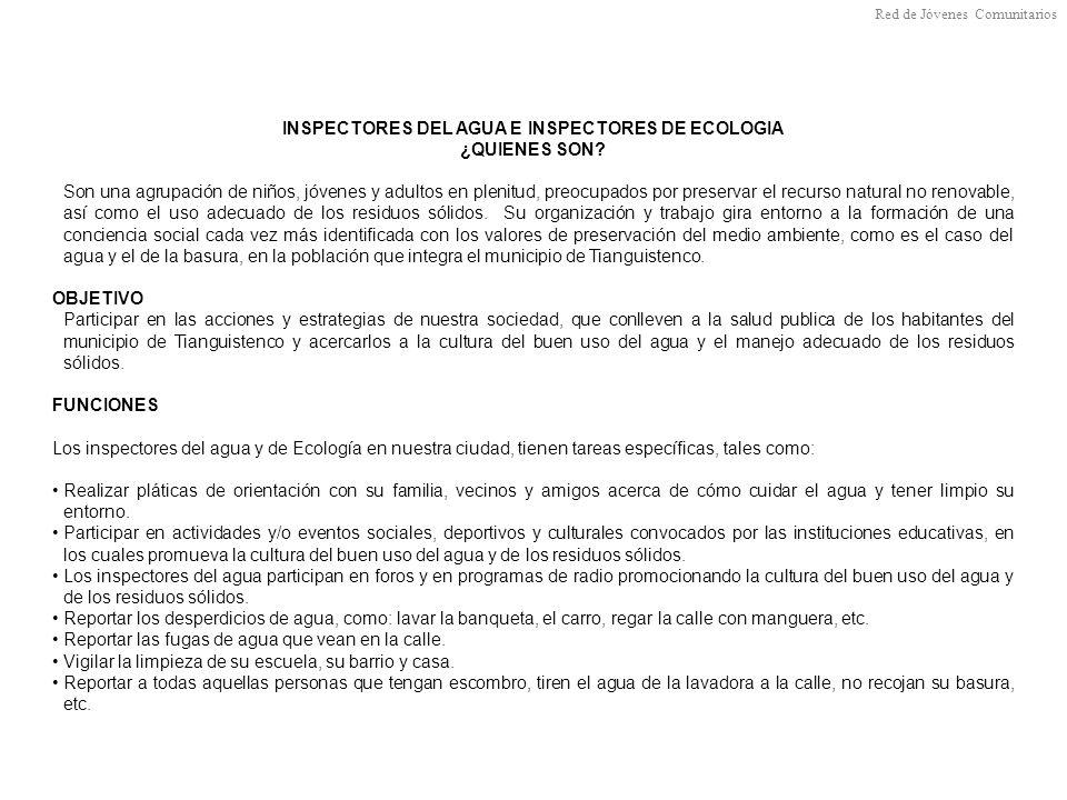 INSPECTORES DEL AGUA E INSPECTORES DE ECOLOGIA ¿QUIENES SON.