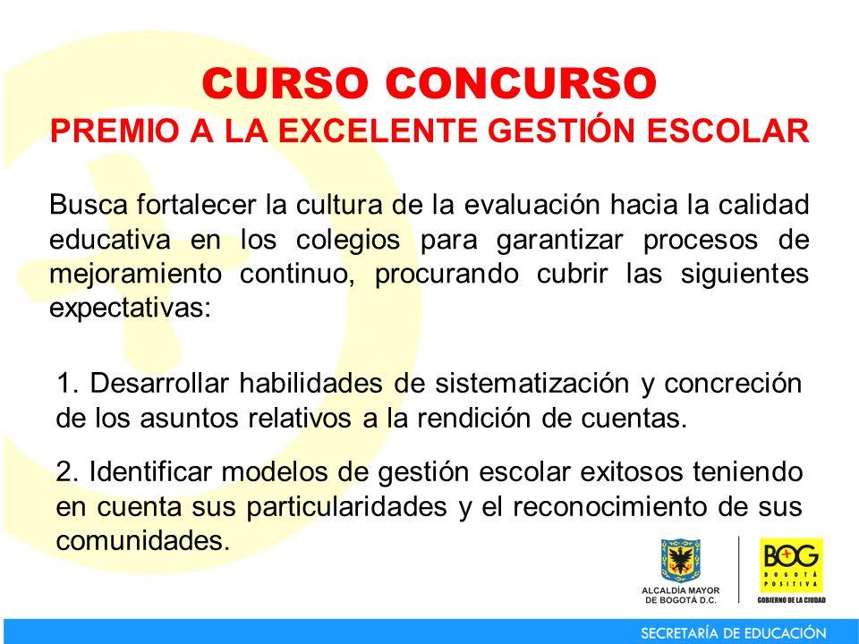 CURSO CONCURSO PREMIO A LA EXCELENTE GESTIÓN ESCOLAR Busca fortalecer la cultura de la evaluación hacia la calidad educativa en los colegios para gara