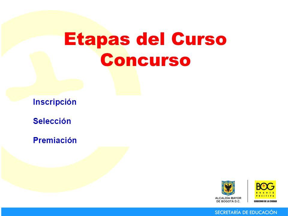 Para la inscripción oficial al premio se hace a través del curso concurso y el colegio deberá diligenciar el formulario publicado en la página www.redacademica.redp.edu.co/evaluacion www.redacademica.redp.edu.co/evaluacion hasta el 7 de Junio de 2010.