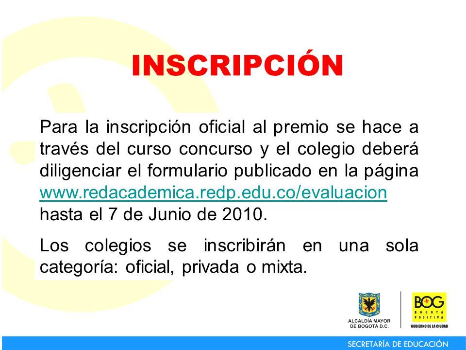 Para la inscripción oficial al premio se hace a través del curso concurso y el colegio deberá diligenciar el formulario publicado en la página www.red