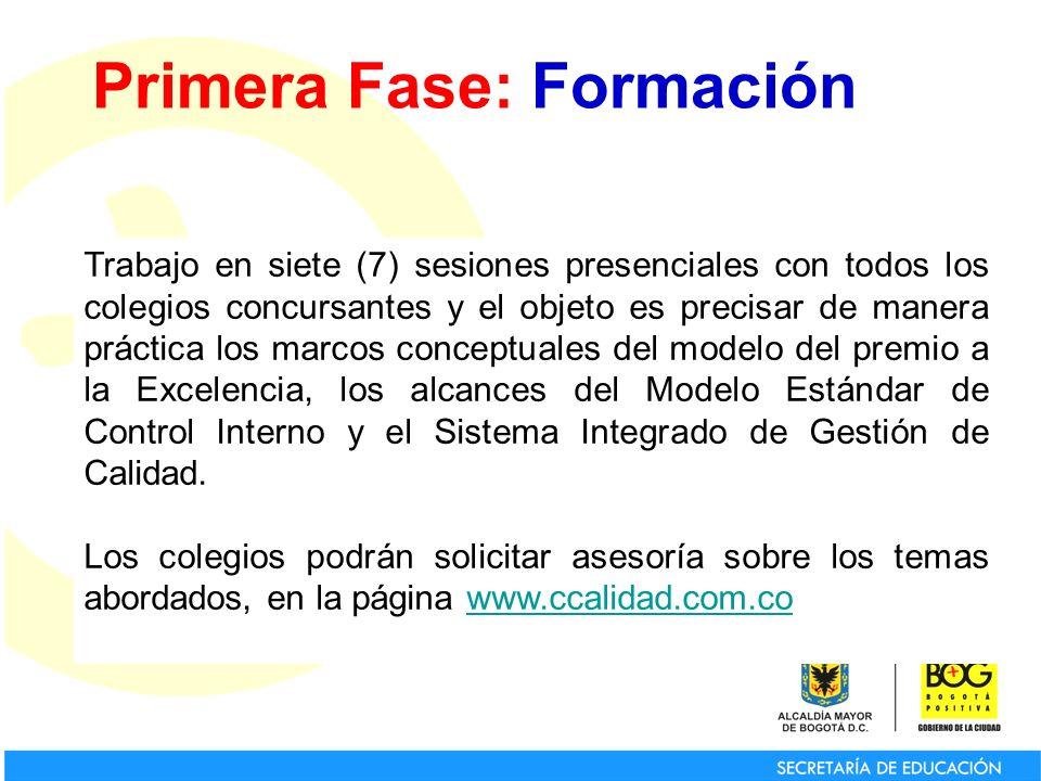 Primera Fase: Formación Trabajo en siete (7) sesiones presenciales con todos los colegios concursantes y el objeto es precisar de manera práctica los