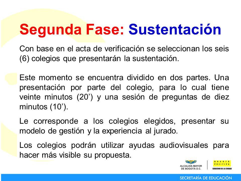 Segunda Fase: Sustentación Con base en el acta de verificación se seleccionan los seis (6) colegios que presentarán la sustentación. Este momento se e