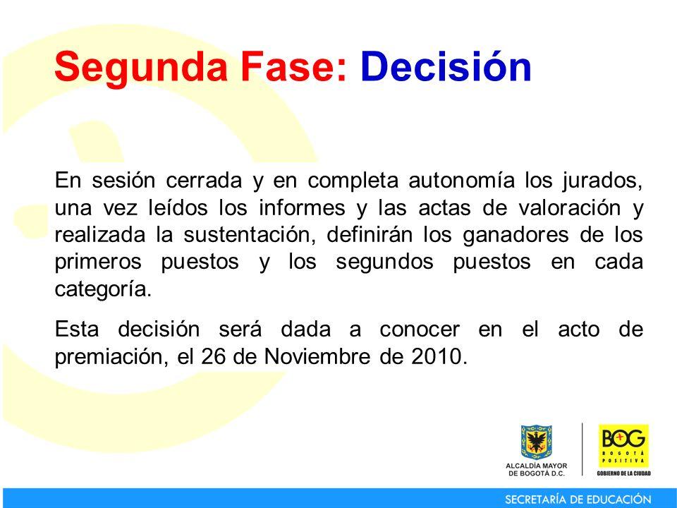Segunda Fase: Decisión En sesión cerrada y en completa autonomía los jurados, una vez leídos los informes y las actas de valoración y realizada la sus