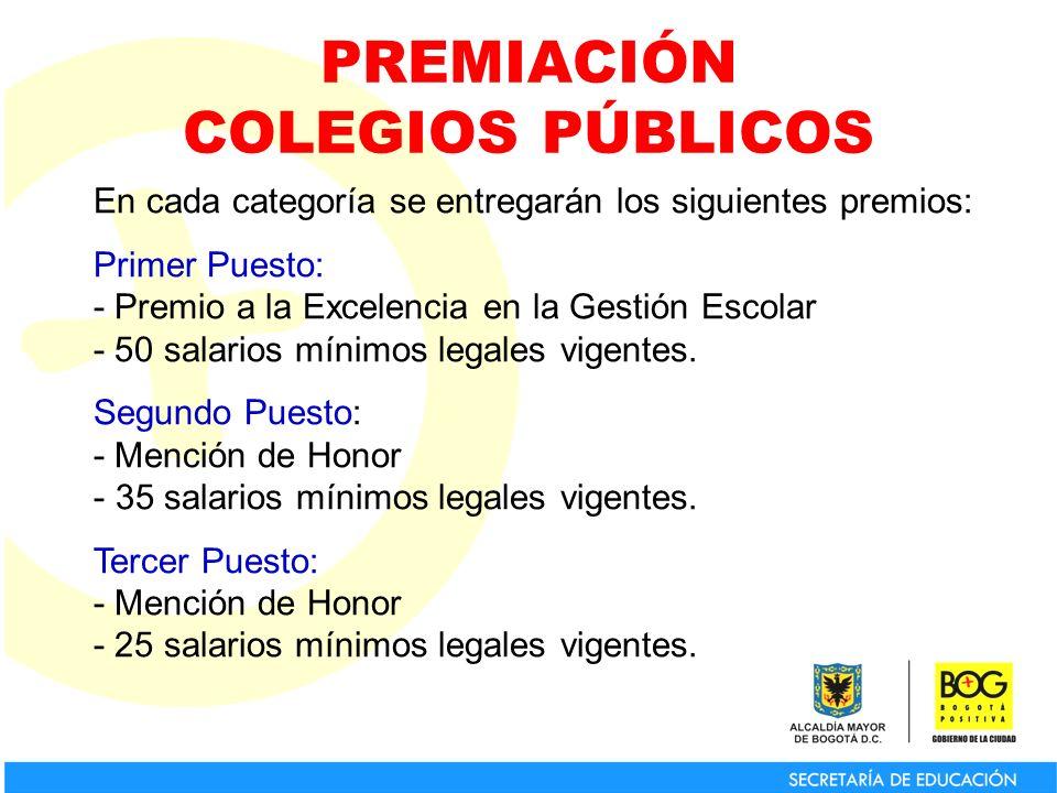 PREMIACIÓN COLEGIOS PÚBLICOS En cada categoría se entregarán los siguientes premios: Primer Puesto: - Premio a la Excelencia en la Gestión Escolar - 50 salarios mínimos legales vigentes.