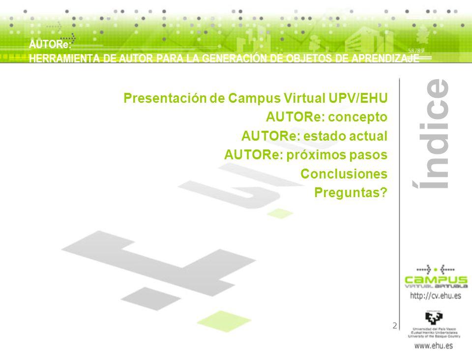 3 Presentación AUTORe: HERRAMIENTA DE AUTOR PARA LA GENERACIÓN DE OBJETOS DE APRENDIZAJE Campus Virtual: Función: estructurar, organizar e impulsar la Docencia y el Aprendizaje basados en el uso de Internet y de las Tecnologías de la Información y de la Comunicación Objetivos: a) Como instrumento de enseñanza íntegramente virtual Favorecer la movilidad de estudiantes y profesores en el marco del Espacio Europeo de Educación Superior (EEES) Colaborar en el diseño y desarrollo de programas interuniversitarios de la UPV/EHU tales como el G9, REDAOPA u otros Aumentar la oferta de libre configuración Desarrollar programas de estudios virtuales tales como postgrados, titulaciones, etc Incorporar a la UPV/EHU sectores estudiantiles que no puedan hacer uso de la docencia presencial