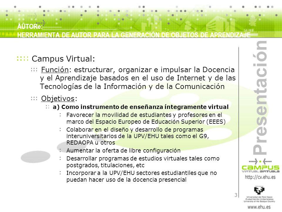 3 Presentación AUTORe: HERRAMIENTA DE AUTOR PARA LA GENERACIÓN DE OBJETOS DE APRENDIZAJE Campus Virtual: Función: estructurar, organizar e impulsar la