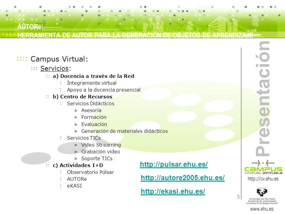 5 Presentación AUTORe: HERRAMIENTA DE AUTOR PARA LA GENERACIÓN DE OBJETOS DE APRENDIZAJE Campus Virtual: Servicios: a) Docencia a través de la Red Ínt
