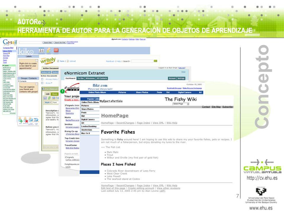 8 Concepto Bases del éxito de estas aplicaciones: Uso de tecnologías XML Cumplimiento de estándares (W3C) para: compatibilizarlas con navegadores web permitir la colaboración de estas aplicaciones entre si (servicios web) Popularización progresiva (explosiva!?) del acceso a redes de banda ancha y redes inalámbricas AUTORe: HERRAMIENTA DE AUTOR PARA LA GENERACIÓN DE OBJETOS DE APRENDIZAJE
