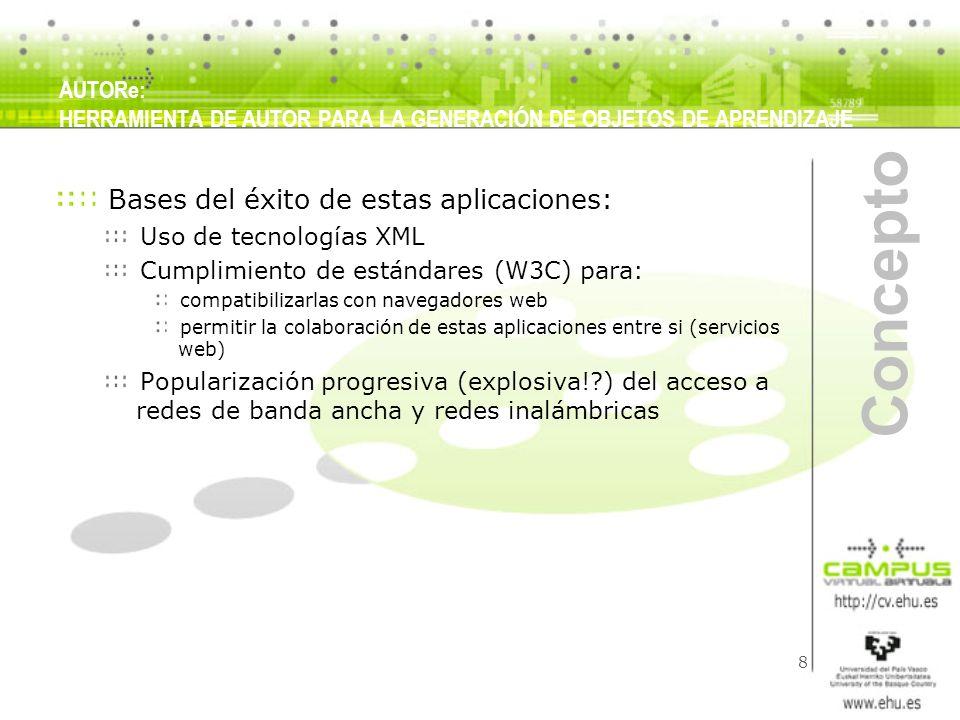 8 Concepto Bases del éxito de estas aplicaciones: Uso de tecnologías XML Cumplimiento de estándares (W3C) para: compatibilizarlas con navegadores web
