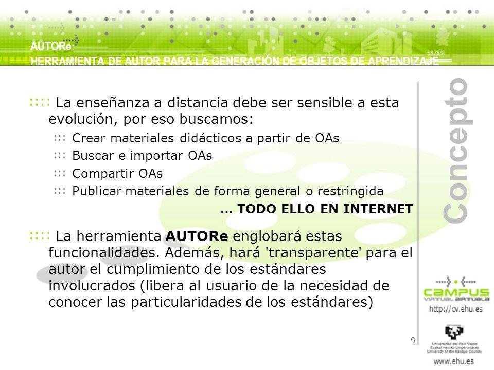 10 Concepto AUTORe, por basar su producción en OAs, deberá cumplir: Algún estándar de OA (SCORM) AUTORe, por su vocación hacia la publicación en internet, deberá permitir (de forma transparente al usuario) que el producto final cumple ciertos requisitos: Accesibilidad (WAI) Publicación multicanal: xhtml, flash, pdf (VoiceXML, SVG,...) Multilingüismo (euskera, castellano, inglés) (I18N) Protección de la propiedad intelectual (Creative Commons) … para ello habrá que crear NUEVOS METADATOS AUTORe basará su implementación en: SW libre Tecnologías y estándares que están impulsando la web 2.0 AUTORe: HERRAMIENTA DE AUTOR PARA LA GENERACIÓN DE OBJETOS DE APRENDIZAJE