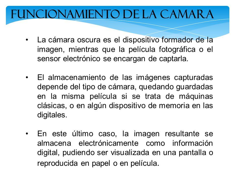 Funcionamiento de la Camara La cámara oscura es el dispositivo formador de la imagen, mientras que la película fotográfica o el sensor electrónico se