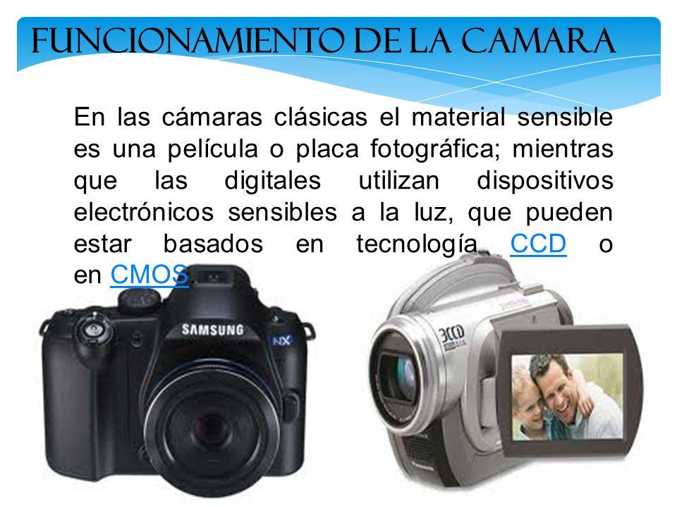Funcionamiento de la Camara En las cámaras clásicas el material sensible es una película o placa fotográfica; mientras que las digitales utilizan disp