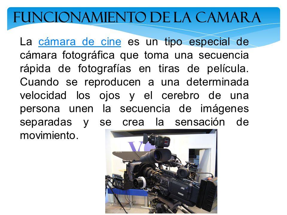 Funcionamiento de la Camara La cámara de cine es un tipo especial de cámara fotográfica que toma una secuencia rápida de fotografías en tiras de pelíc