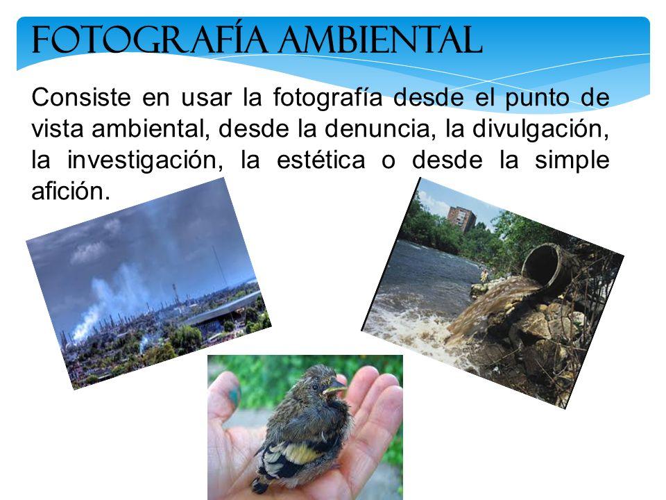 Consiste en usar la fotografía desde el punto de vista ambiental, desde la denuncia, la divulgación, la investigación, la estética o desde la simple a