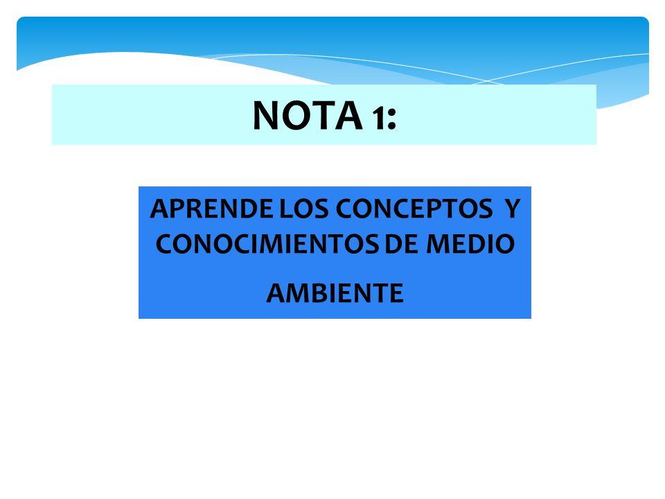 NOTA 1: APRENDE LOS CONCEPTOS Y CONOCIMIENTOS DE MEDIO AMBIENTE