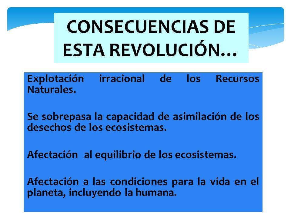 CONSECUENCIAS DE ESTA REVOLUCIÓN… Explotación irracional de los Recursos Naturales. Se sobrepasa la capacidad de asimilación de los desechos de los ec
